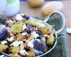 Nutritious, delicious, and easy to make,! Roasted Idaho Potatoes, Cauliflower, and Brussels Sprouts with Goat Cheese and Hazelnuts . Enjoy as a main dish or side dish. Naturally gluten-free, vegetarian, and can be made vegan by omitting the goat cheese. #AD