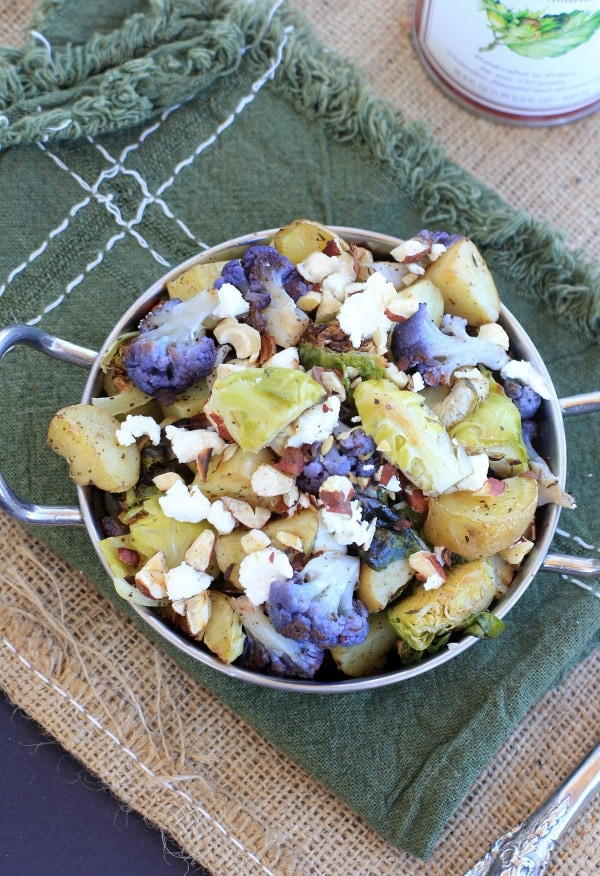 Roasted Idaho Potatoes with Brussels Sprouts, Cauliflower, Goat Cheese , and Hazelnuts #AD | EA Stewart-The Spicy RD