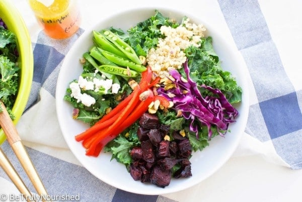 Winter Beet & Kale Salad with Clementine Vinaigrette from Be Truly Nourished {gluten-free, vegan & vegetarian options}