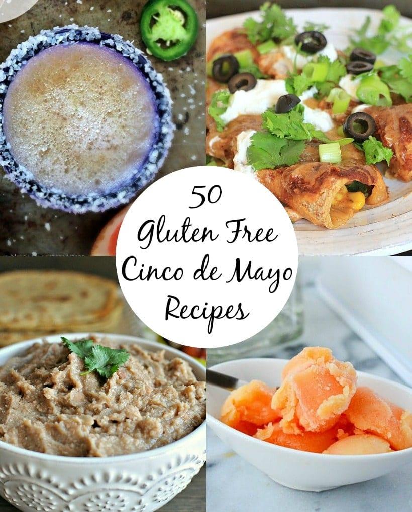 Cinco de Mayo Recipes collage featuring a mezcal margarita, vegetable enchiladas. refried beans, and sherbet.