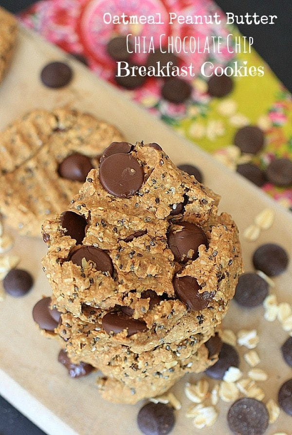 Healthy enough to eat for breakfast, these Oatmeal Peanut Butter Chia Chocolate Chip Cookies are gluten-free, vegan, low FODMAP, and melt-in-your-mouth delicious!