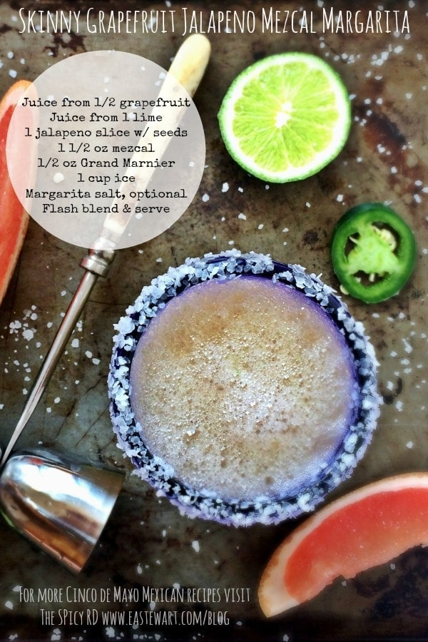 This Skinny Grapefruit Jalapeno Mezcal Margarita is a delicious twist on the traditional margarita. Cheers! | The Spicy RD