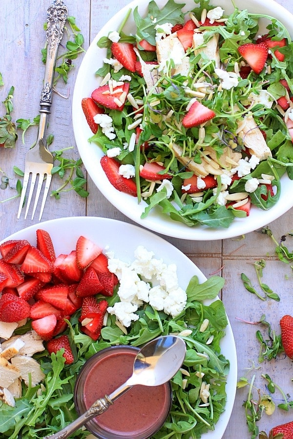 Strawberry Arugula Salad with Chicken, Goat Cheese, Almonds, and ...