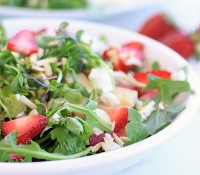 Strawberry Arugula Salad with Goat Cheese, Chicken, Almonds, and Strawberry Lemon Vinaigrette