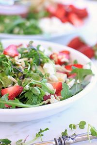 Strawberry Arugula Salad with Chicken, Goat Cheese, Almonds, and Creamy Strawberry Lemon Vinaigrette