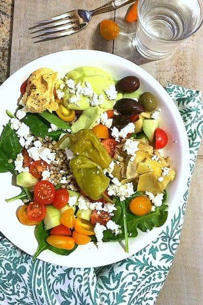 Healthy Grain Bowls, Mediterranean Style, with Avocado Tzatziki