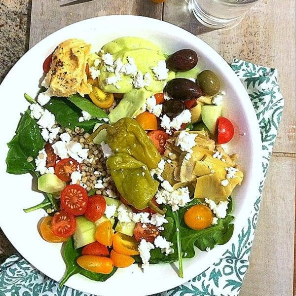 "Fresh, fast, healthy and delicious! ""DIY"" Greek Salad Bowl with Avocado Tzatzikii."