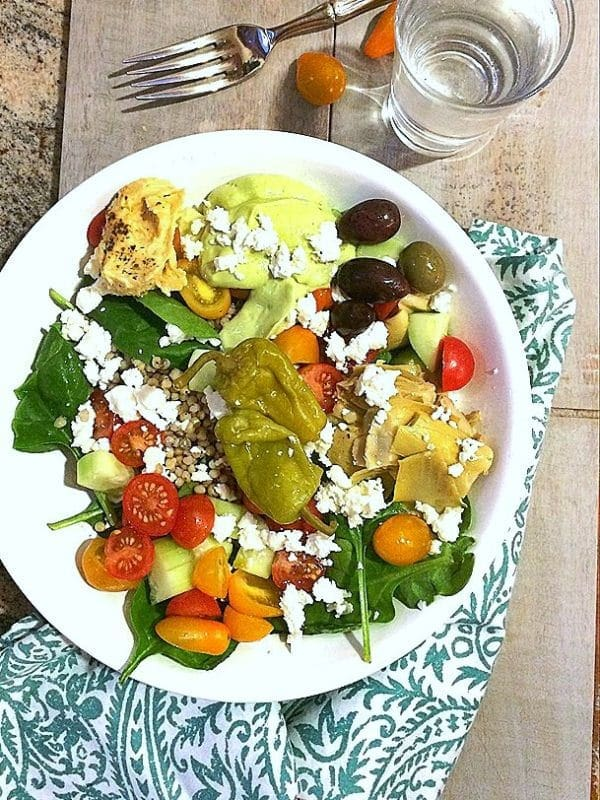 "Fresh, fast, healthy and delicious! ""DIY"" Greek Salad Bowl with Avocado Tzatzikii."