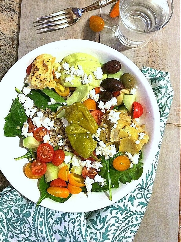 Greek Salad Bowl with Avocado Tzatziki + California Avocados 101