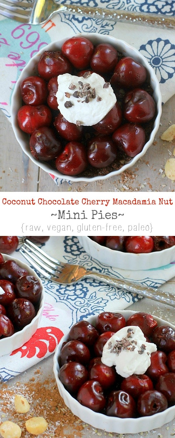 Cherry pie for breakfast! Healthy enough to eat for breakfast, decadent enough to eat for dessert! Coconut Chocolate Cherry Macadamia Nut Mini Pies
