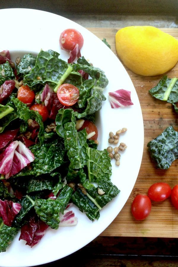 Packed with plant-based protein and fiber, this lovely Lentil Salad with Kale, Cherry Tomatoes, Almonds, and Lemon Vinaigrette is a light,, yet deliciously filling lunch!