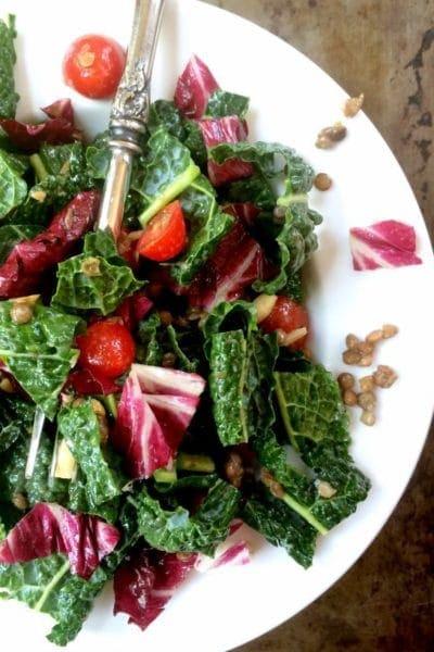 Easy Lentil Salad with Kale, Cherry Tomatoes, Almonds & Lemon Vinaigrette