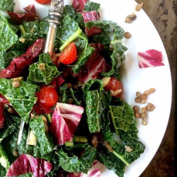 Lovely Lentil Salad with Kale, Cherry Tomatoes, Almonds & Lemon Vinaigrette