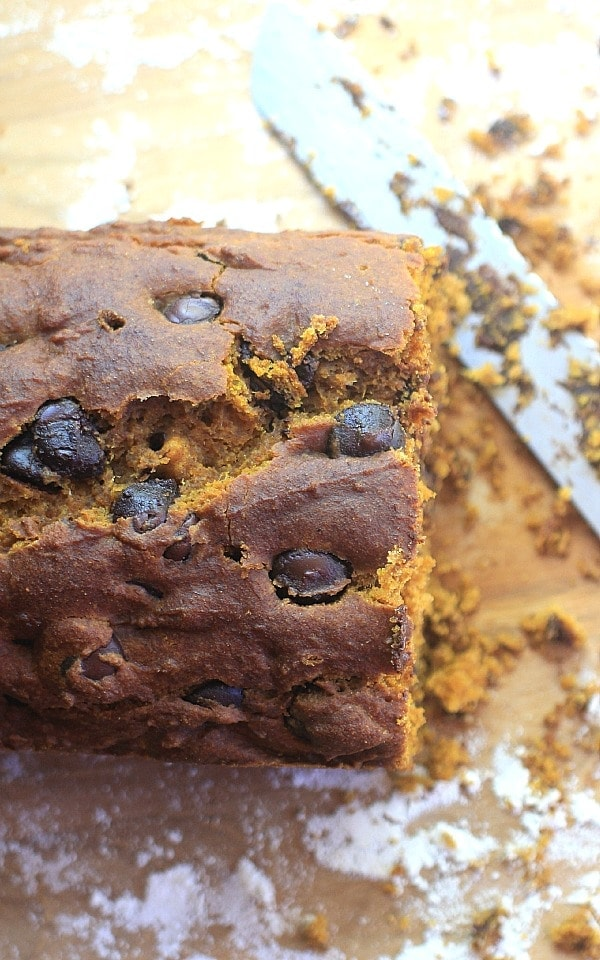 """Moist and delicious, this """"One Bowl"""" Chocolate Chip Pumpkin Bread is a delicious fall treat!"""