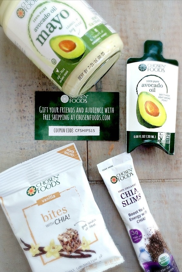 Get your daily dose of healthy fats with some delicious products from Chosen Foods ~ Chia Energy Bites and Avocado Oil!