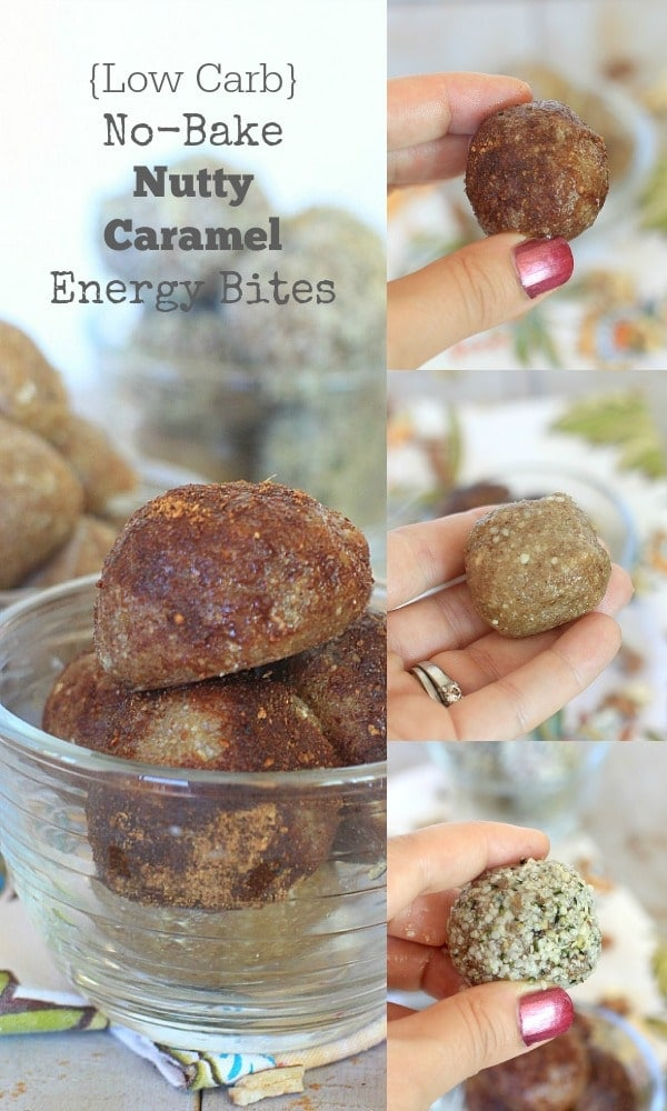 Insanely delicious, you'll love these Low Carb No-Bake Nutty Caramel Energy Bites for a healthy treat! Try them plain, with hemp seeds, or with pumpkin pie spice. Yum!