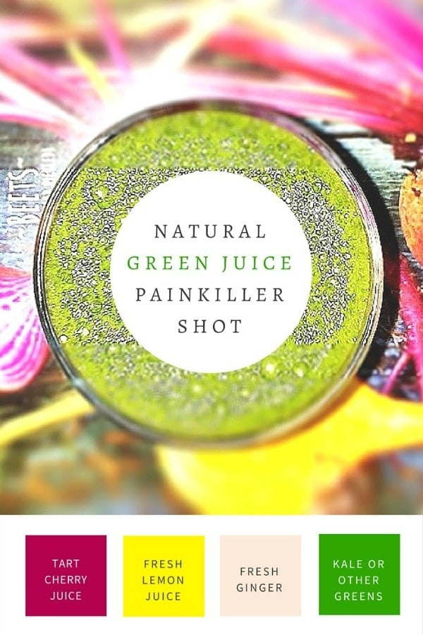 "Pain? Sore muscles? Inflammation? Before you reach for an Advil, give this Natural Green Juice ""Painkiller"" Shot a try!"