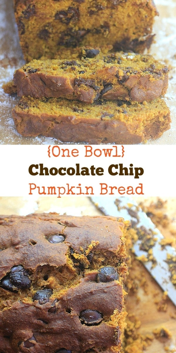 """This """"One Bowl"""" Chocolate Chip Pumpkin Bread recipe is easy to make, and a delicious fall treat!"""