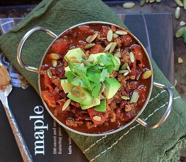 Easy, healthy, delicious! Smoky & Sweet Turkey Chili topped with Avocado,Pumpkin Seeds, and Cilantro.