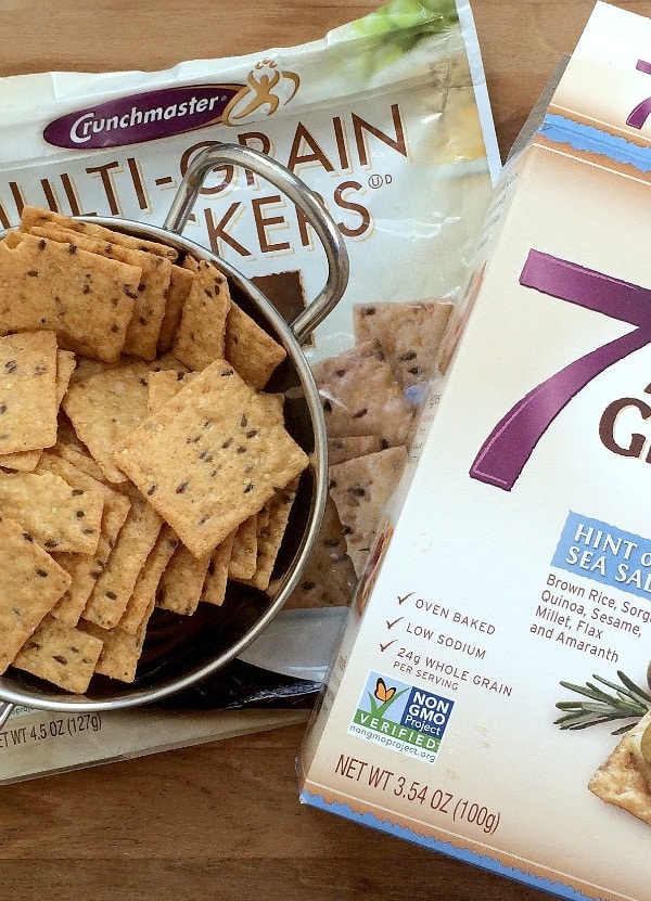 Pair Crunchmaster Crackers with your favorite hummus or other dip, for a healthy gluten-free snack!