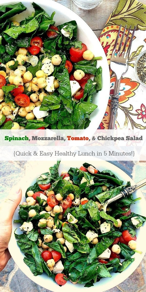 This Spinach, Mozzarella, Tomato & Chickpea Salad is a quick, easy, healthy lunch you can whip up in 5 minutes!