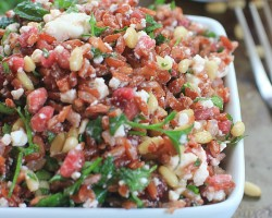 Sprouted Red Jasmine Rice Salad with Pomegranate, Feta, Pine Nuts, and Fresh Herbs