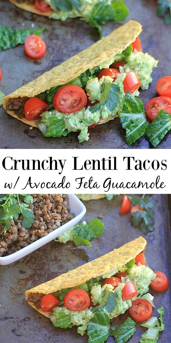 You won't miss the meat w/ these AMAZINGLY delicious and super healthy Crunchy Lentil Tacos w/ Avocado Feta Guacamole. My 12 yo son polished off 4 tacos in one sitting-they are THAT good!