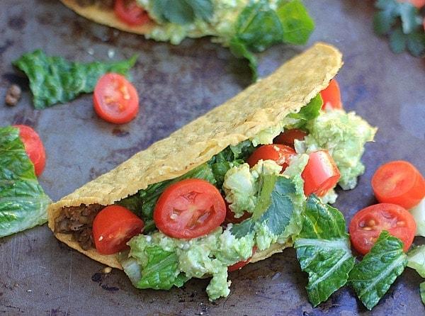 SO easy, healthy, and delicious! Crunchy Lentil Tacos with Avocado Feta Guacamole