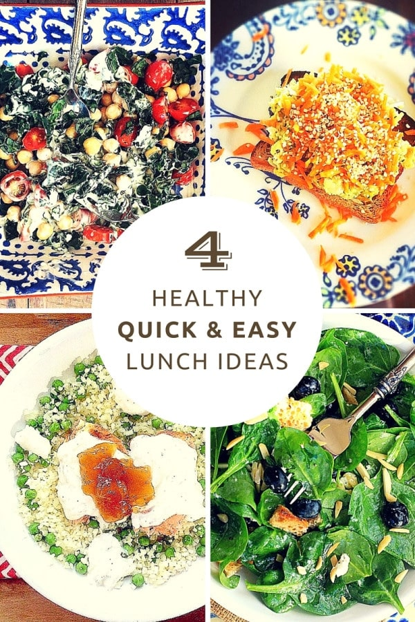 Craving quick and easy, healthy lunch ideas? You'll love these 4 delicious and nourishing lunches made with a few leftovers, plus pantry staples that you can whip up in 10 minutes or less. Enjoy!