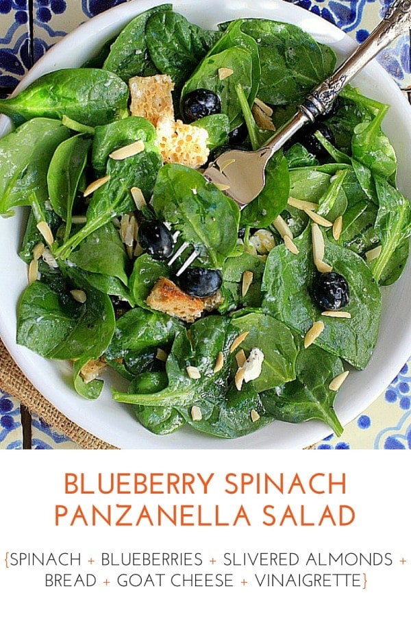 Quick and easy healthy lunch idea! Blueberry Spinach Panzanella Salad