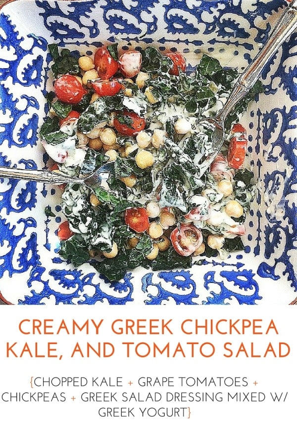 Quick & easy healthy lunch idea! Creamy Greek Chickpea, Kale, and Tomato Salad