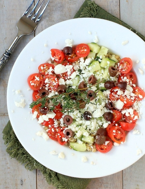 Easy, healthy lunch idea! Greek Sorghum Veggie Bowl with Feta Cheese | Recipe is gluten-free and vegetarian.