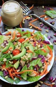 Rainbow Rotisserie Chicken Salad w/ Avocado & Honey Mustard Dressing