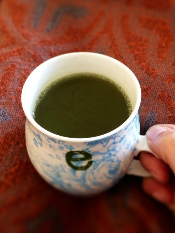 "Enjoying a cup of matcha tea after meditating has become an almost daily ritual for me. Not only is matcha rich in antioxidants, it's also a good source of L-theanine, a ""feel good"" amino acid that promotes alertness and relaxation at the same time. Win, win!"