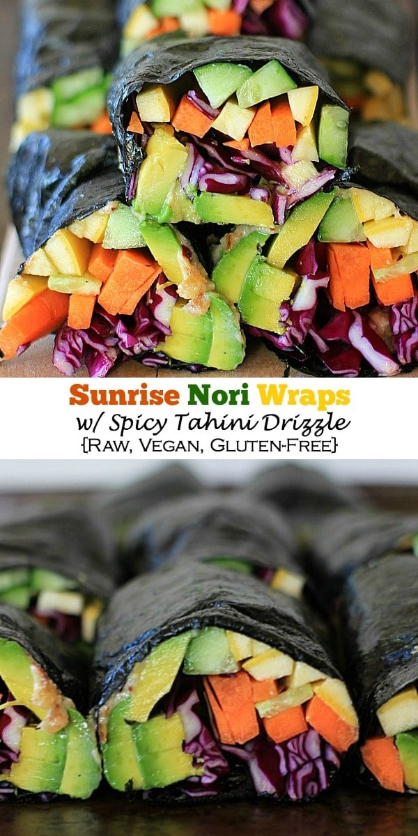 Eat the rainbow! Sunrise Nori Wraps with Spicy Tahini Drizzle. So easy to make, super healthy and delicious! Recipe is vegan and gluten-free.