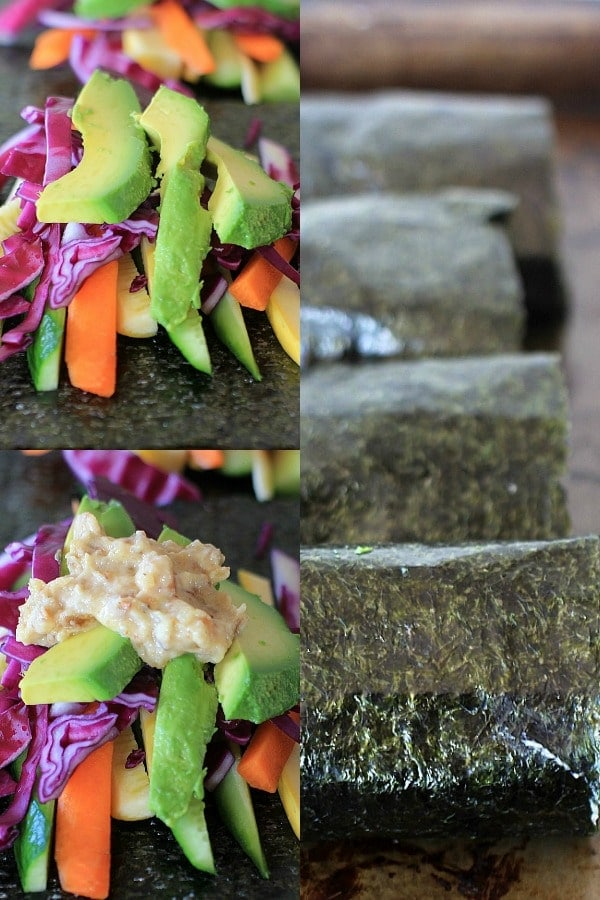 Loaded with nourishing, anti-inflammatory foods, these Sunrise Nori Wraps w/ Spicy Tahini Drizzle are SO good AND good for you too! | Recipe is vegan and gluten-free.