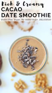 Overhead picture of Cacao Date Smoothie topped with cacao nibs