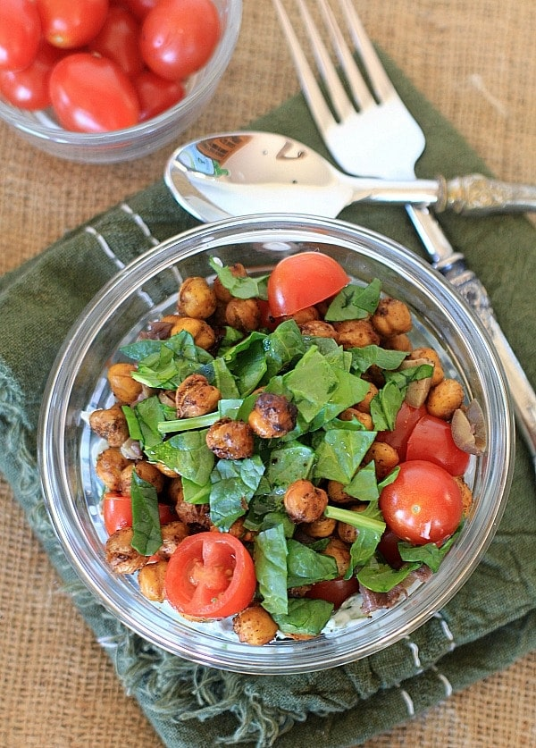 Savory Yogurt Parfait with Spicy Roasted Chickpeas | A healthy, easy, delicious, and versatile recipe idea. Try this Mediterranean inspired version, or create your own recipe with your favorite spices and veggies.