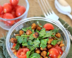 Savory Yogurt Parfait with Spicy Roasted Chickpeas. Packed with protein and fiber, it's perfect for a quick grab-and-go lunch, a healthy snack, or any meal of the day!