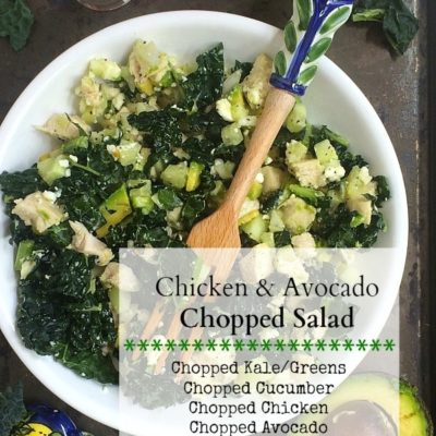Chicken, Avocado & Kale Chopped Salad | Got leftover chicken? you can make this yummy salad in less than 10 minutes for a super easy, healthy, and delicious lunch or dinner!