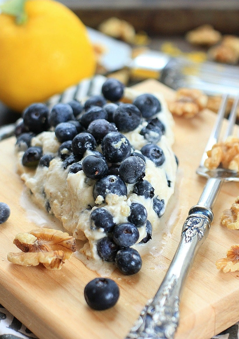 This Blueberry Lemon Ice Cream Pie with Coconut Walnut Crust is SO delicious, plus it's healthy too! | Recipe is gluten free, grain free, vegan, Paleo, low FODMAP #sponsored by California Walnuts