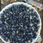 No-Bake Blueberry Lemon Ice Cream Pie with Coconut Walnut Crust
