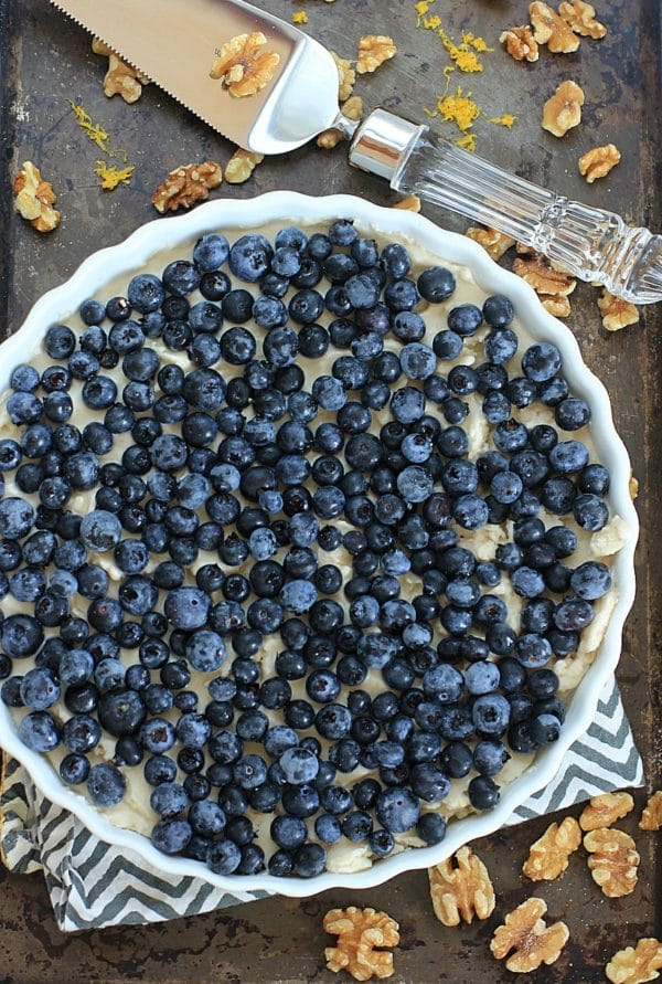 This No Bake Blueberry Lemon Ice Cream Pie with Coconut Walnut Crust is a healthy a delicious summer treat! | Recipe is gluten-free, vegan, low FODMAP, grain free, Paleo