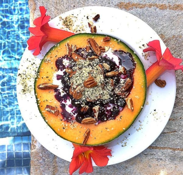 Protein packed cottage cheese get's a sexy makeover in this simple summer recipe...Cantaloupe Breakfast Bowl!