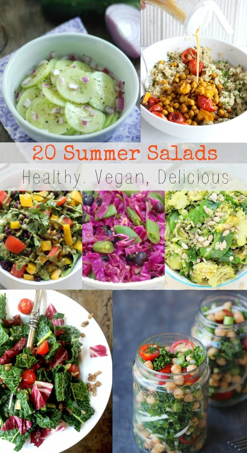 Celebrate these season! 20 Healthy Vegan Summer Salads featuring fresh and delicious seasonal produce. Enjoy! | Recipe Round-Up @thespicyrd