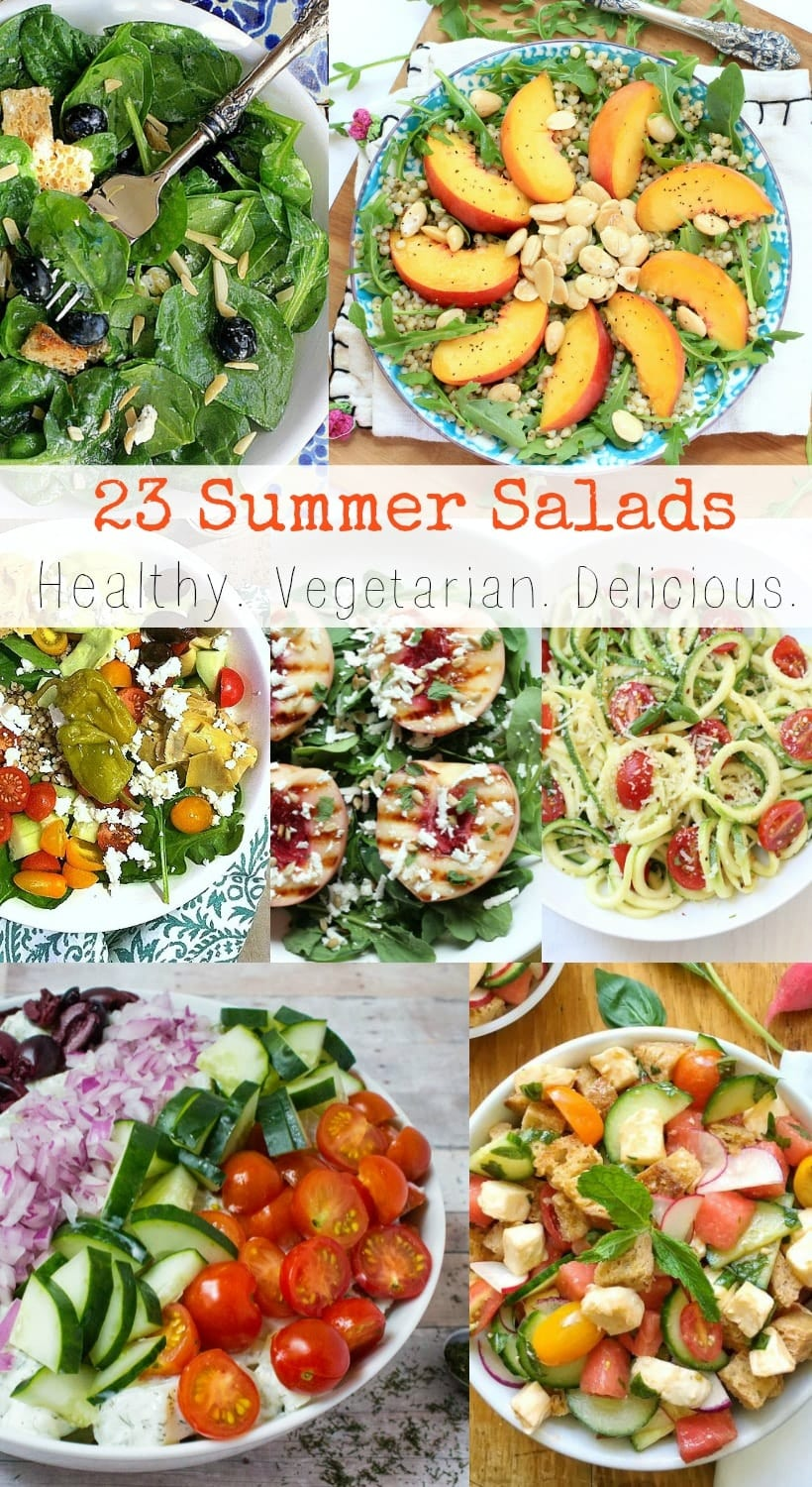 Celebrate these season! 23 Healthy Vegetarian Summer Salads featuring fresh and delicious seasonal produce. Enjoy! | Recipe Round-Up @thespicyrd