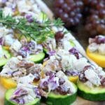 Easy Low Carb Rosemary Pecan Chicken Salad on Zucchini Chips. Slightly addictive, but oh so healthy and delicious!