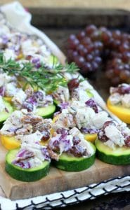 Easy Low Carb Rosemary Pecan Chicken Salad on Zucchini Chips