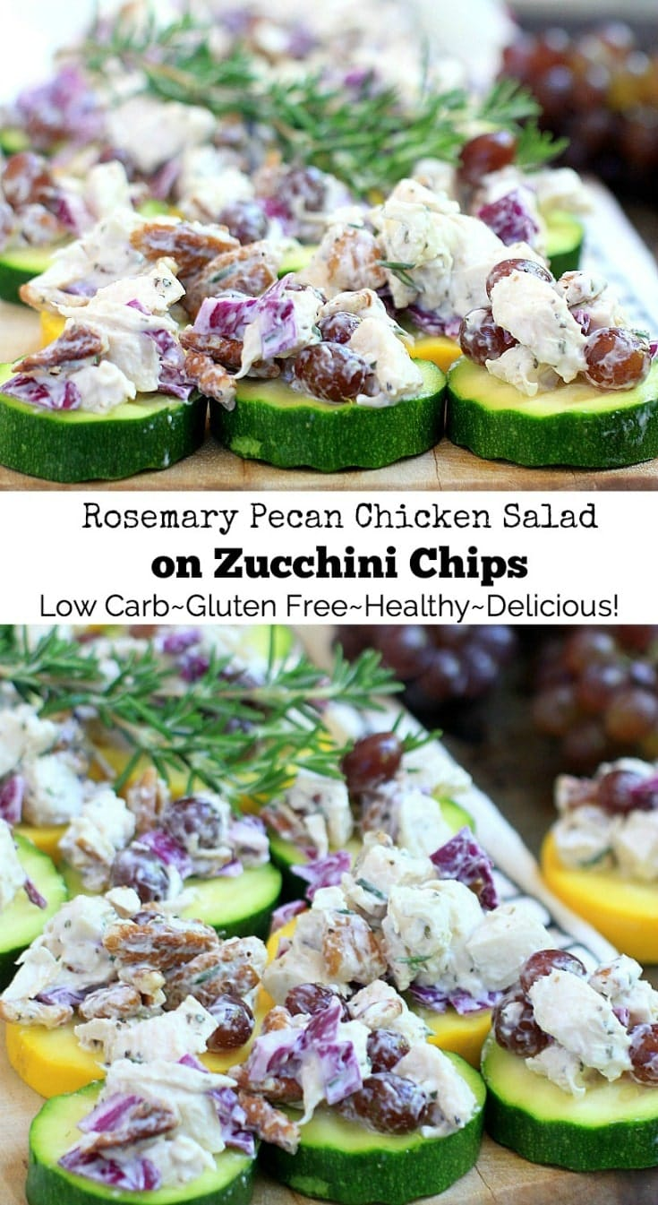 This easy low carb {gluten-free, low FODMAP} Rosemary Pecan Chicken Salad with sweet and juicy Champagne grapes served on zucchini chips, is a light yetnourishing meal for lunch or dinner. Get the recipe, plus more healthy, gluten free recipes at EA Stewart, Spicy RD Nutrition @thespicyrd