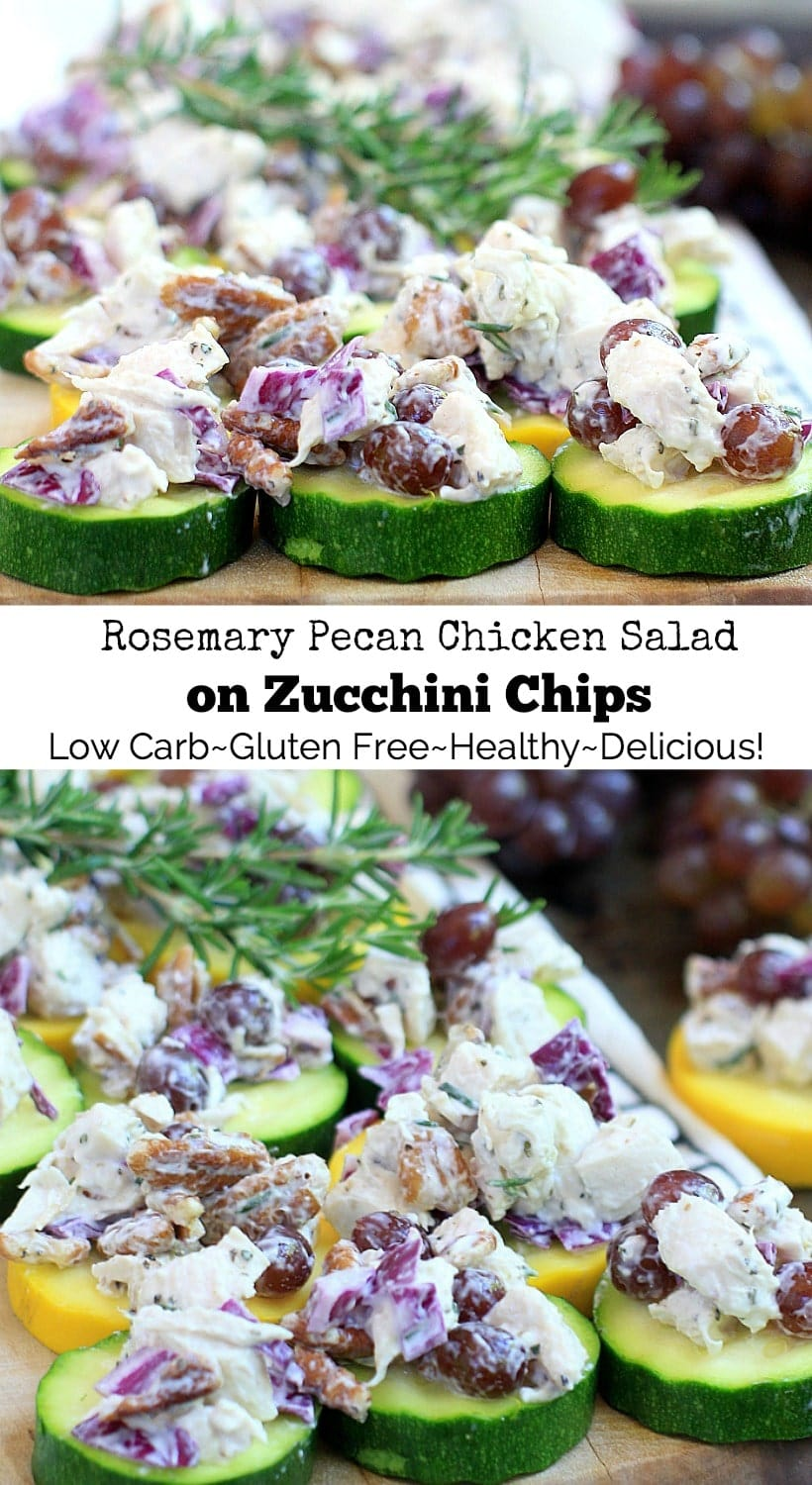 Rosemary Pecan Chicken Salad on Zucchini Chips. Low carb, gluten free, healthy, and delicious!